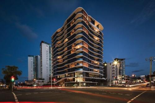 Night view Allegra Apartments Southport Alumnium Composite Cladding